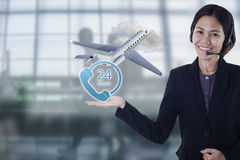 Sales person asia happy smiling plane flight travel for customer Royalty Free Stock Images