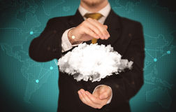 Sales person holding white cloud Stock Photography