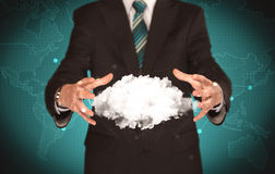 Sales person holding white cloud Stock Image