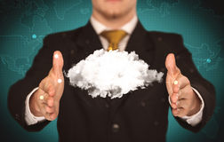 Sales person holding white cloud Royalty Free Stock Images