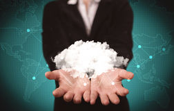 Sales person holding white cloud Stock Photo