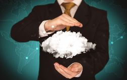 Sales person holding white cloud Stock Images