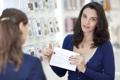 Sales person showing a contract Stock Image