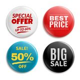 Sales pin badges. Circled badging button, 3d glossy price tag. Big sale, best price and special offer badge vector set vector illustration