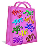 Sales Pink Paper Bag. A pink paper bag for shopping Royalty Free Stock Photos