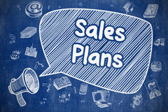 Sales Plans - Cartoon Illustration on Blue Chalkboard. Royalty Free Stock Images