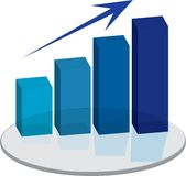 Sales plinth blue up arrow. A blue graph that show the sales are on the increase Royalty Free Stock Photos