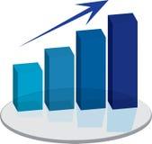 Sales plinth blue up arrow Royalty Free Stock Photos