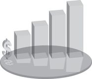 Sales plinth glass. A business sales chart in glass with a dollar sign vector illustration