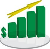 Sales plinth green arrow up. A business sales growth chart in green with a yellow arrow Royalty Free Stock Photo