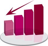 Sales plinth red down arrow. A red graph showing that your sales are on the slide vector illustration