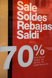 Sales poster. Sales sign in a shop window Royalty Free Stock Image