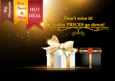 Sales poster (A3 format) for Black Friday. But also for other advertising business / retail events. Big discounts, best deals, buy, save and win. Contains gift Stock Photos