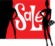 Sales poster with the image of silhouettes of women Stock Images