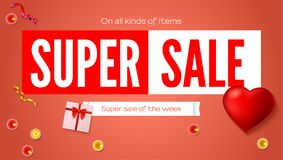 Sales poster with text design and presents. Super sales of the week discount. Gift box, big red heart, burning candle. Ad poster for shopping or marketing Royalty Free Stock Photography