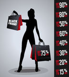 Sales poster with woman silhouette Stock Photography