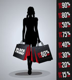 Sales poster with woman silhouette Stock Images