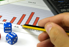 Sales prediction. Sales graph analysis and dices stock images