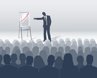 Sales presentation. Seminar or sales presentation with many Stock Images