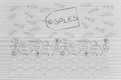Sales price tags with percentage and crowd with happy reactions. Black friday and cyber monday promotions: sales price tags with percentage and crowd with happy Royalty Free Stock Photography