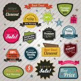 Sales price tags stickers and ribbons Royalty Free Stock Image