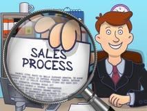 Sales Process through Magnifier. Doodle Design. Stock Photo
