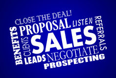 Sales Process Negotiation Leads Word Collage. Sales Process Negotiation Leads Prospects Animated Word Collage Stock Photography