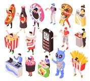 Sales Promoters Isometric Set. Sales promoters characters advertising fastfood and electronics products stands costumes portable counters isometric set isolated vector illustration