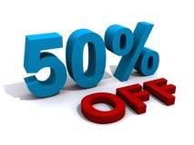 Sales promotion 50% off. In 3D blue and red text Stock Image