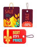 Sales Promotion in Fall Concept, Tags Hanging Text stock illustration