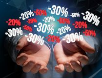 Sales promotion 20% 30% and 50% flying over an interface - Shopp Royalty Free Stock Photo