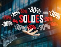 Sales promotion 20% 30% and 50% flying over an interface - Shopp Stock Photography