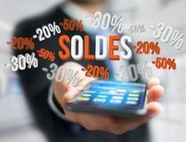 Sales promotion 20% 30% and 50% flying over an interface - Shopping concept. View of a Sales promotion 20% 30% and 50% flying over an interface - Shopping stock images
