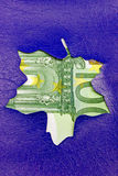 Sales promotional sign in a shape of leaf euro Stock Images