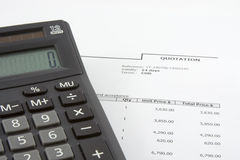 Sales quotation and calculator Royalty Free Stock Photo