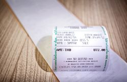 Sales Receipt with the Amount and `NO REFUND` Printed. Stock Images