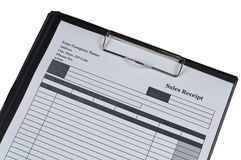 Sales Receipt form. On isolated white background Stock Images