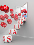 Sales red word steps up to open door Stock Images