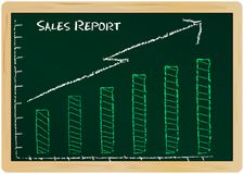 Sales report. On a chalk board vector illustration