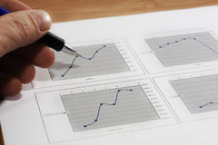 Sales report. Colorful sales charts with pen stock images