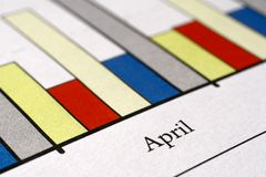 Sales report. Colorful sales charts with ball pen Stock Photo