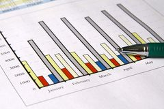 Sales report. Colorful sales charts with ball pen Stock Images