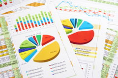 Sales Report in Digits, Graphs and Charts. Colorful Sales Report in Statistics, Graphs and Charts Stock Photos