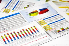 Sales Report in Statistics, Graphs and Charts. Colored Stock Image