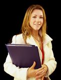 Sales representative. Golden haired girl who is a sales representative Royalty Free Stock Image