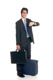 Sales representative. Handsome successful young sales representative, joyful expression, studio shot Stock Photo