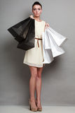 Sales, retail and woman shopping time. Stock Photo