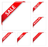 Sales ribbons. Collection of red corner ribbons royalty free illustration