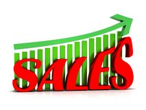 Sales with rising arrow illustration Royalty Free Stock Image