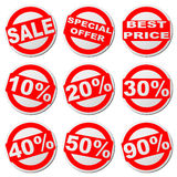 Sales round stickers set Stock Photography
